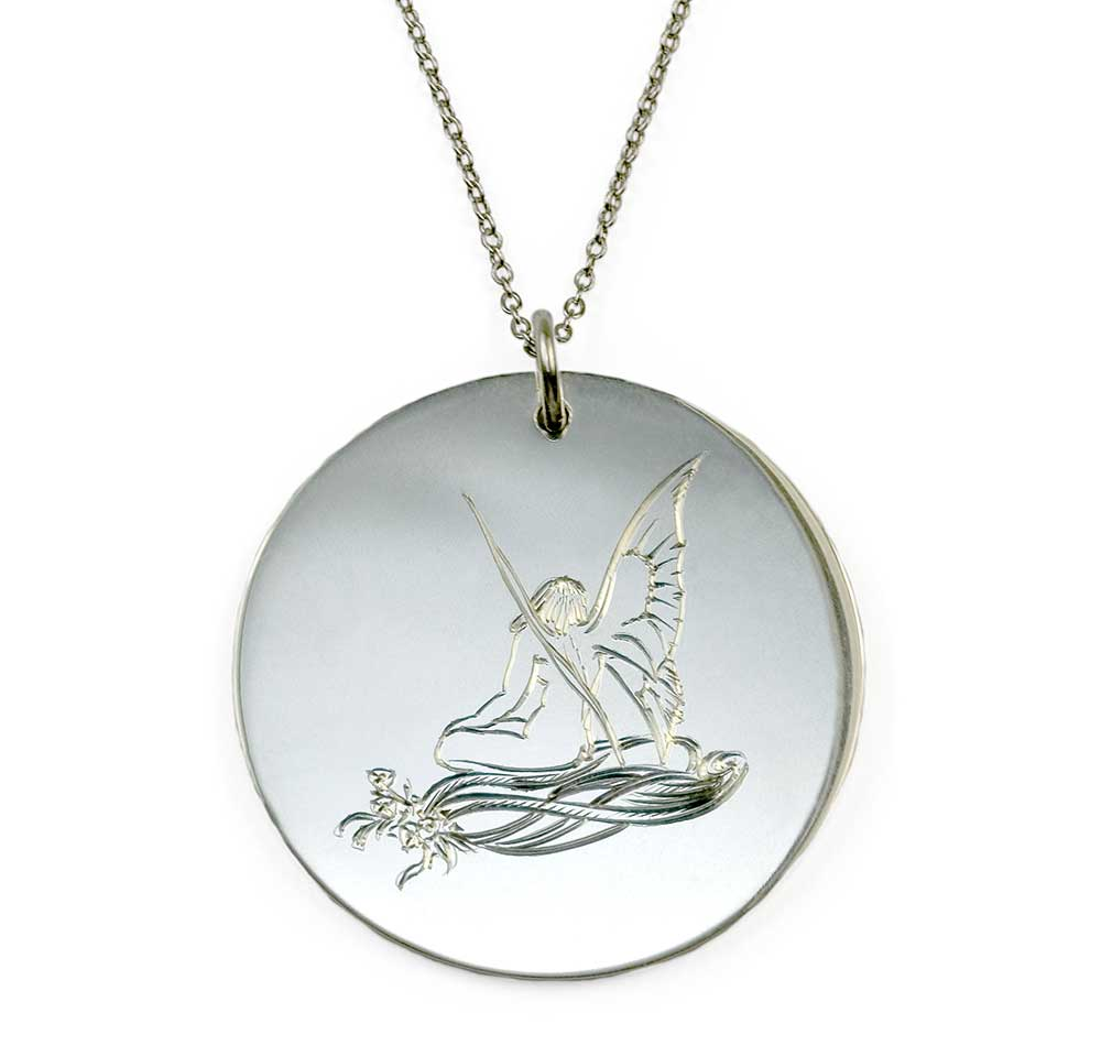 SILVER FAIRY DISK NECKLACE