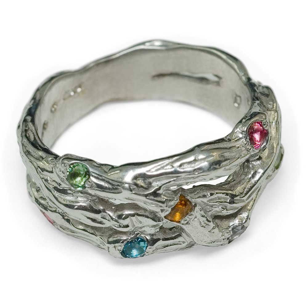 MULTI TWIG SILVER RING