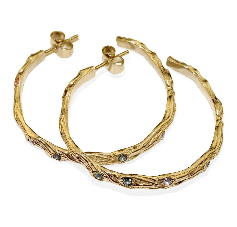 LARGE GOLD TWIG HOOP EARRINGS