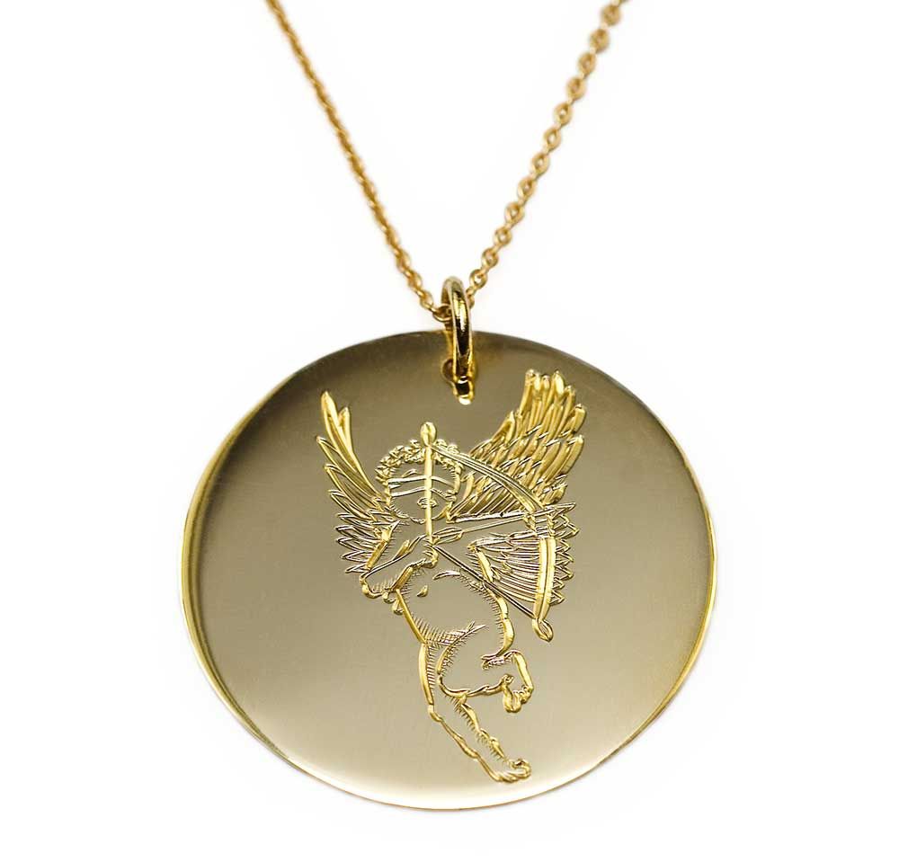 GOLD MEDIUM DISK CUPID NECKLACE