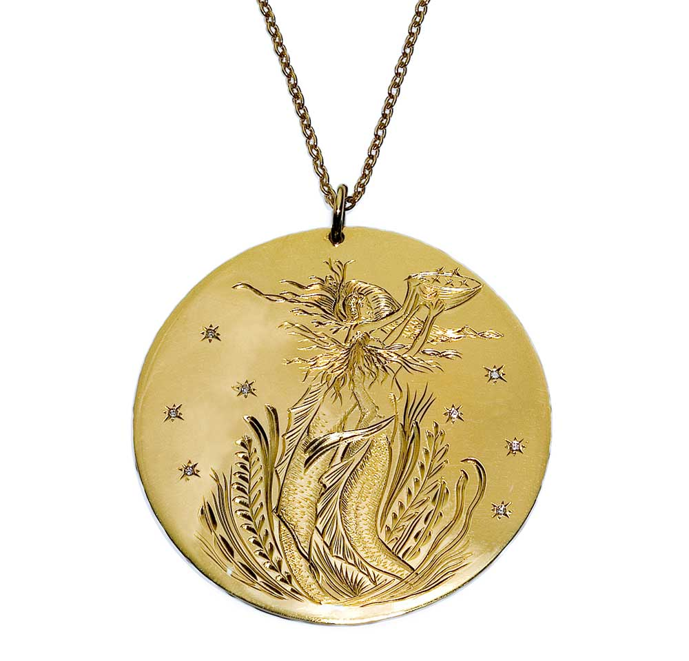 LARGE GOLD MERMAID DISK NECKLACE