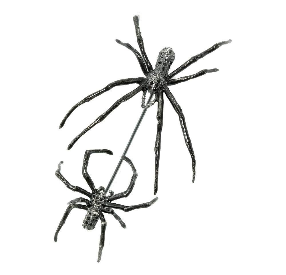 BLACK DIAMOND DOUBLE SPIDER PIN