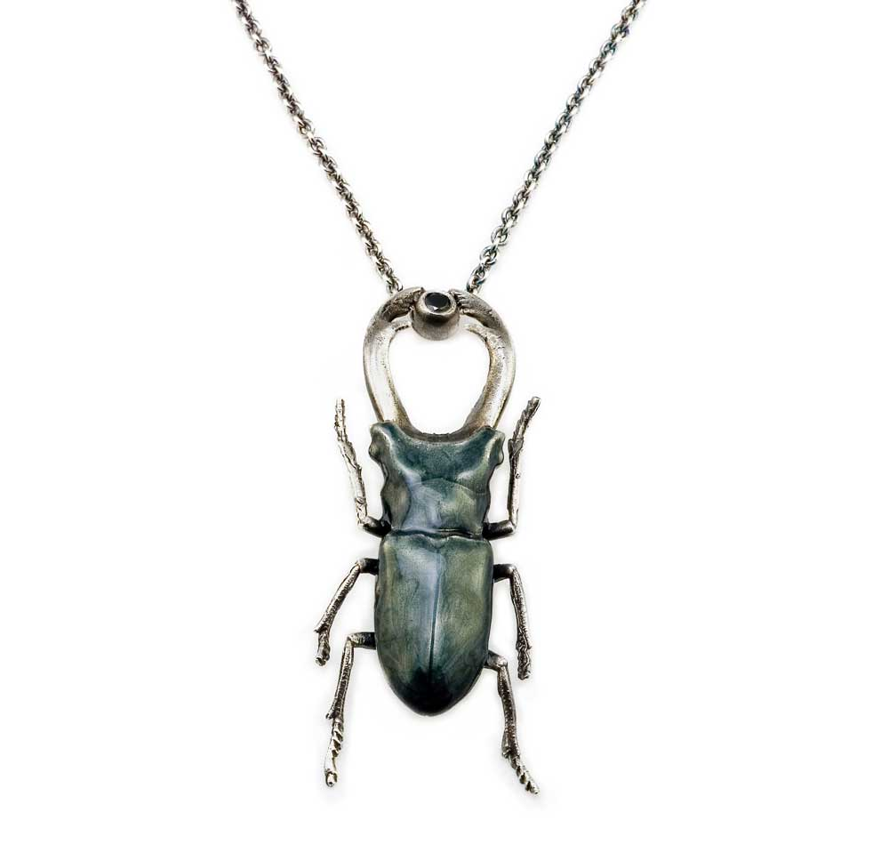 STAG BEETLE GREY NECKLACE