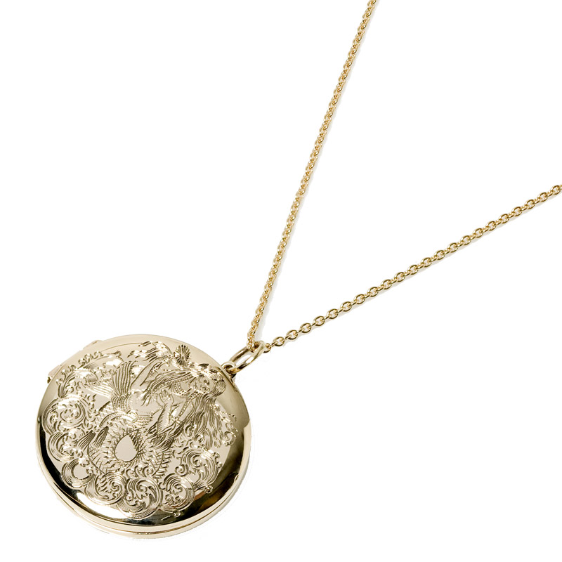 ENGRAVED SIRENEUSE LOCKET NECKLACE
